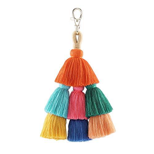 CHIC DIARY Boho Taschenanhänger Fransen Bunte Quaste Schlüsselanhänger Böhmen Tasche Schlüssel Ornamente Accessoires Damen Mädchen