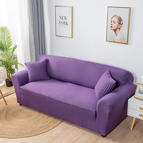 Xin Hai Yuan Fundas elásticas de licra de color sólido, fundas elásticas para sofá, toallas, esquinas, para sala de estar, morado, 1 asiento