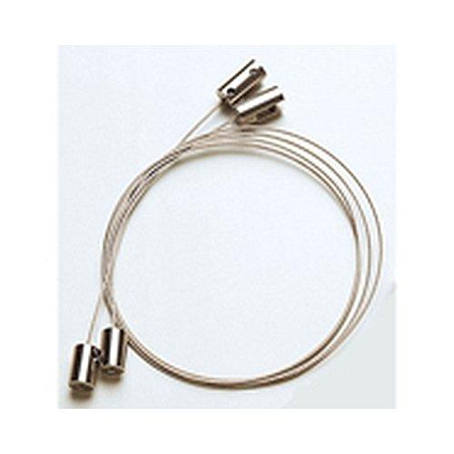 Deckenabhängung mit Stahlseil und 2 Edelstahlhaltern, für 6 mm Materialstärke, Seillänge: 1,5 m, Seilstärke: 1 mm,