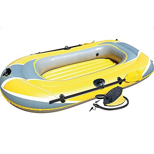 ReedG Kayac 2 Persona Kayak al Aire Libre Inflable Barco Espesado Barco de Pesca aerodeslizador Bote Inflable (Color : Yellow, Tamaño : 228x121cm)