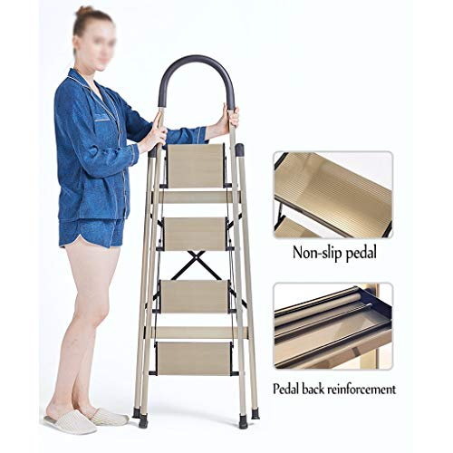 4 Step Stool Ladder Portable Folding Ladder, Stepladder, Multi-Purpose Ladder, Extension Ladder, Anti-Slip Rubber Hand Grip Lightweight