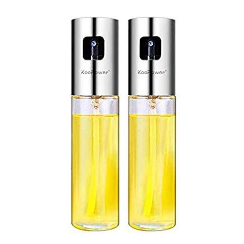 2 Pack Olive Oil Sprayer, Food-Grade Stainless Steel Glass Vinegar Bottle Oil Spray Bottle Oil Dispenser Best for Cooking, Kitchen Baking, Roasting, Salad, BBQ