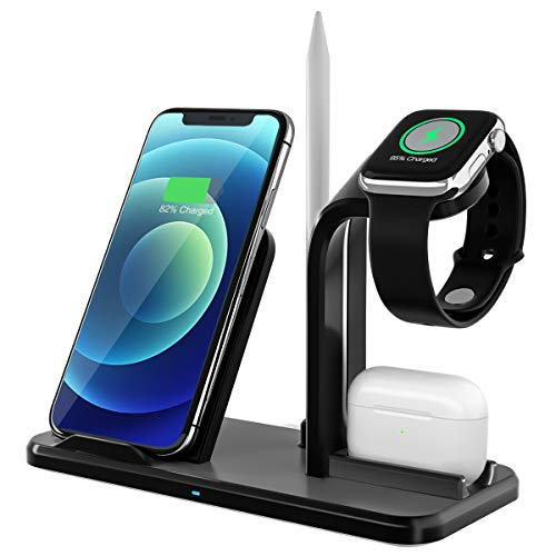 Yaature Fast Wireless Charger, 4 in 1 Kabelloses Ladegerät mit Stift ständer für Apple Watch 6/5/4/3/2 & Airpods Pro/2/1, Induktive Ladestation für iPhone 11/11 Pro/X/XS/XR/8/8 Plus/Samsung und Mehr