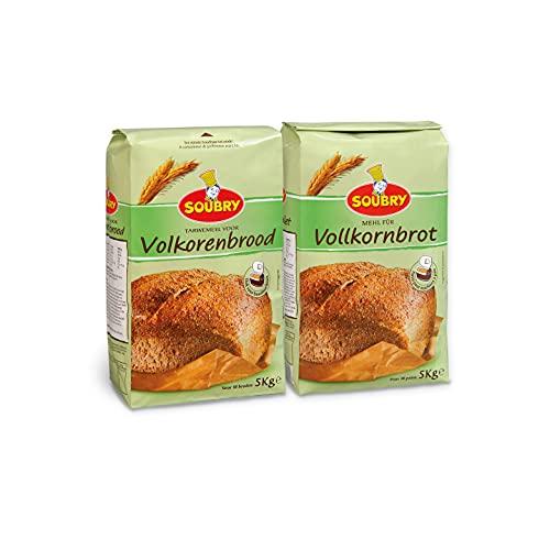 SOUBRY Reichhaltige Brotbackmischung zum Backen für Vollkornbrot und Brot mit Backofen oder Brotbackautomat, VorteilsPack Brotmischungen aus 100% Vollkorn im 2er Set (2 x 5 Kg)