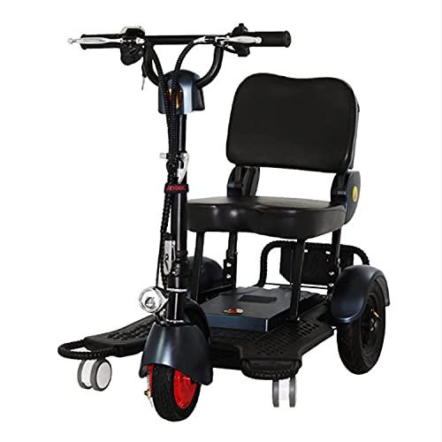 FHKBK Scooter de Movilidad eléctrico Plegable de Tres Ruedas, Triciclo portátil, Scooter...