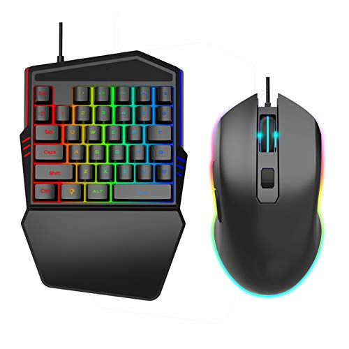 WUHUAROU Keyboard and Mouse Set 35-key Mini USB Wired Keyboard and Mouse for Home Office Small Gaming Mouse