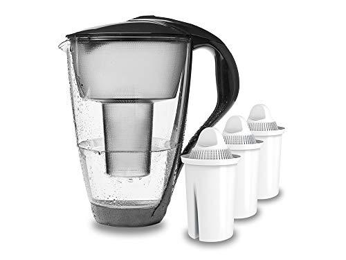 PearlCo - Glas-Wasserfilter (anthrazit) mit 3 classic Filterkartuschen - passt zu Brita Classic