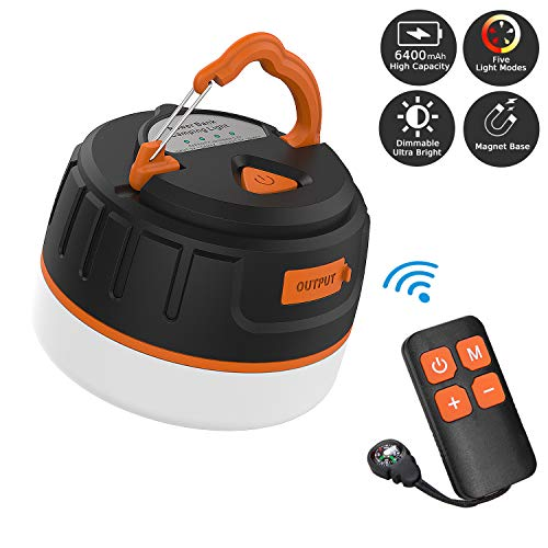 Sinvitron LED Camping Lantern Rechargeable/Power Bank 6400mAh Dimmable Portable Camping Tent Light W/Remote Control Magnet Base 5 Light Modes  Survival Kit for Emergency Hurricane Power Outage