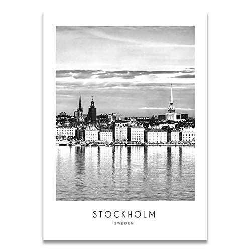 Nordic Stockholm Paris Helsingfors New York City Landskap Kanfastryck Paraffisch Väggbilder för vardagsrum Heminredning 20x28 inch Ingen ram