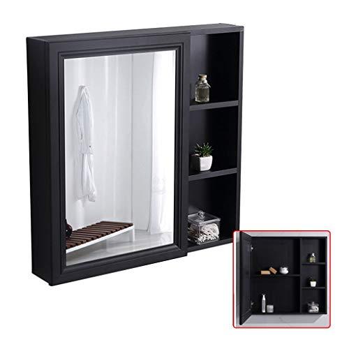 Spiegelschränke Wandspiegel Mit Regal Linke Tür Toilettenschrank Wasserdichter Und Feuchtigkeitsbeständiger Badezimmerspiegelschrank (Color : Black, Size : 90 * 12.5 * 70cm)