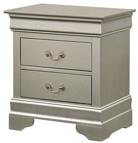Glory Furniture Louis Phillipe , Silver Champagne Nightstand, 24' H X 22' W X 16' D