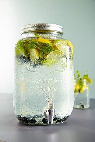 Schou 874088 Dispensador Bebida con Grifo de 8 l, Transparente, 19x19x32 cm