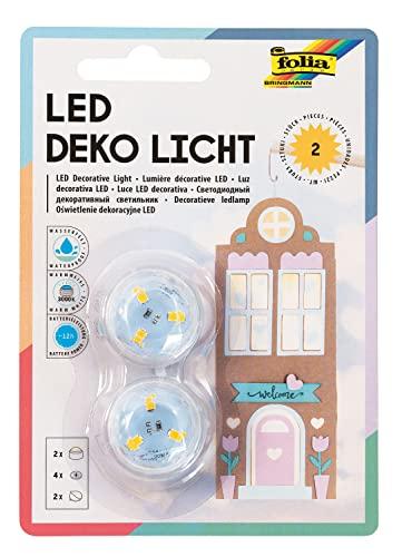 folia 982 - Deko LED Licht, 2 Stück, warmweißes Licht, ideal als Teelichtersatz, für Laternen, Windlichter