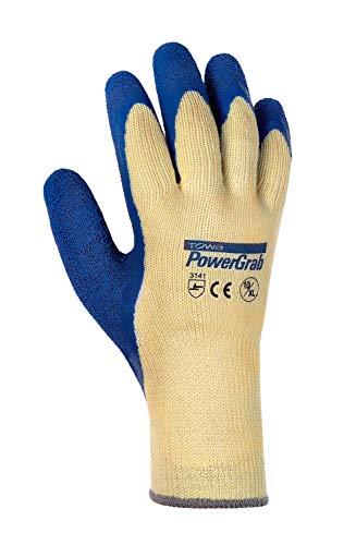 (12 Paar) TOWA Handschuhe Baumwoll-/Polyester-Strickhandschuhe PowerGrab 12 x Natur/blau 10(XL)