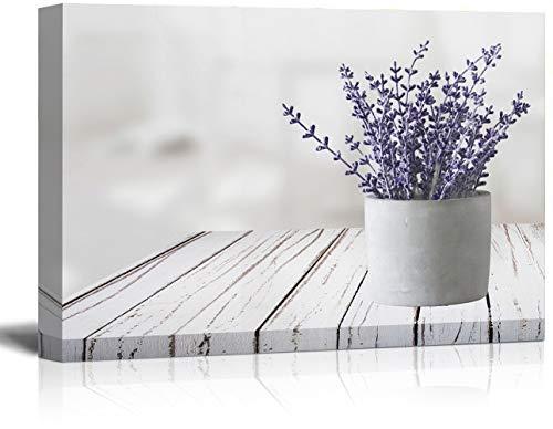 suwenxia Vintage Flower Romantic Lavender Canvas Wall Art 12'x16', Purple Lavender Bathroom Decor,Framed Canvas Wall Art Great Gift for Living Room Bedroom Bathroom Decoration
