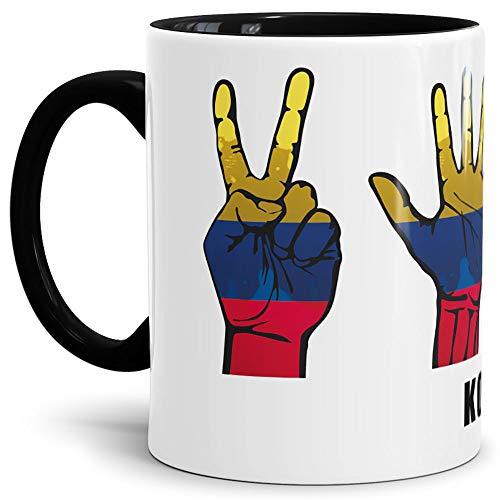 Tassendruck Flaggen-Tasse mit Handzeichen von Kolumbien - Innen & Henkel Schwarz - Fahne/Länderfarbe/WM/Weltneisterschaft/EM/Europameisterschaft/Cup/Tor/Qualität Made in Germany