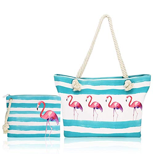 FARI - Bolsa de playa grande con cordel de viaje, bolsa de hombro, cierre de cremallera en la parte superior