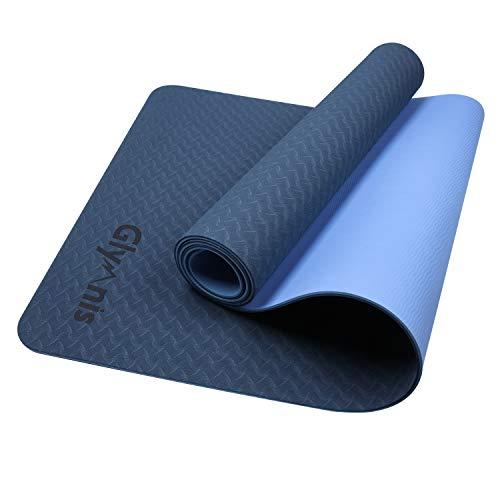 Glymnis Yogamatte Gymnastikmatte aus TPE rutschfest Übungsmatte Fitnessmatte für Yoga Pilates Fitness mit Tragegurt und Reinigungstuch 183 cm x 61 cm x 0,6 cm (Blau-Dunkelblau)