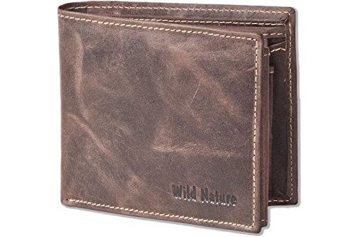 Wild Nature® - Riegelgeldbörse im Querformat aus naturbelassenem Büffelleder in Natur-Dunkel, Braun