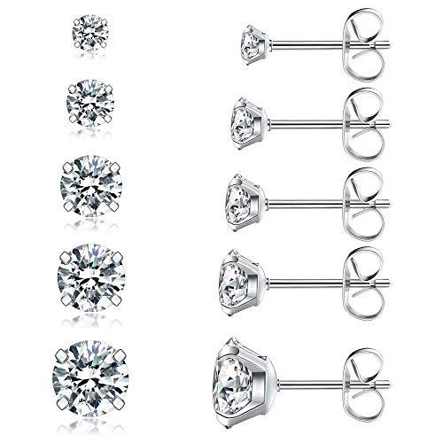 Pendientes de botón de acero inoxidable 5 pares de pendientes de circonita cúbica Conjunto de pendientes de joyería hipoalergénica femenina
