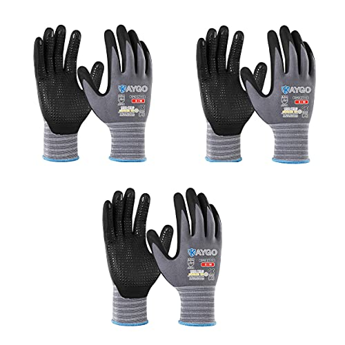 Work Gloves MicroFoam Nitrile Coated - KAYGO KG19NB, Seamless Knit Nylon Safety Work Gloves with Micro Dots on palm, Ideal for General Purpose,Automotive,Home Improvement,Painting (3, Medium)