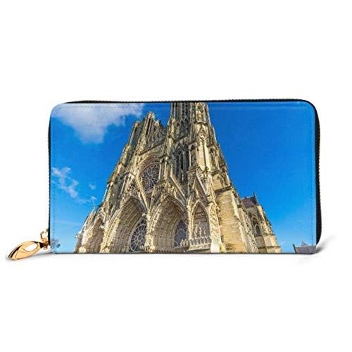YUXB Mode Handtasche Reißverschluss Geldbörse Notre Dame Reims Kathedrale Champagner Frankreich Telefon Clutch Geldbörse Abend Clutch Sperren Leder Geldbörse Multi Card Orga