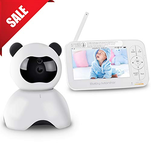 "Baby Monitor, 5"" Digital Video Baby Camera, HD 720P Two-Way Talk Audio Pan Tilt, 5 Inch Color LCD Display Screen, Night Visio Lullabies Sound Sensor Temperature Alarm Plug & Play Up to 900ft Range"