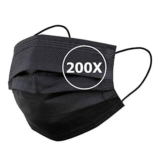 TBOC Mascarilla Higiénica Desechable -  [Pack 200 Unidades] Máscara 3 Capas [Negra] Ligera Suave y Transpirable [No Reutilizable] con Pinza Nasal [Calidad Premium] Protección Facial Alta Filtración