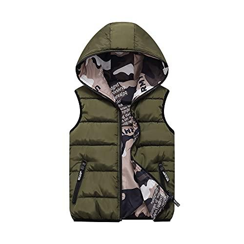 Chaleco de Pluma Sin Mangas Chaqueta con Capucha Niños Niñas Reversible Abrigo de Invierno Camuflaje Trajes Verde 6-7 Años