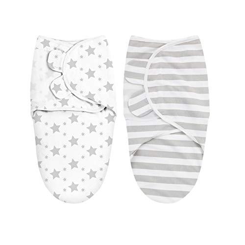 2 Pack Baby Swaddle Manta con alas ajustables, 100 algodón0-6 meses Swaddlers Sleep Sack, manta de envoltura suave para recién nacido e infante, toalla de envoltura orgánica transpirable para niñas.