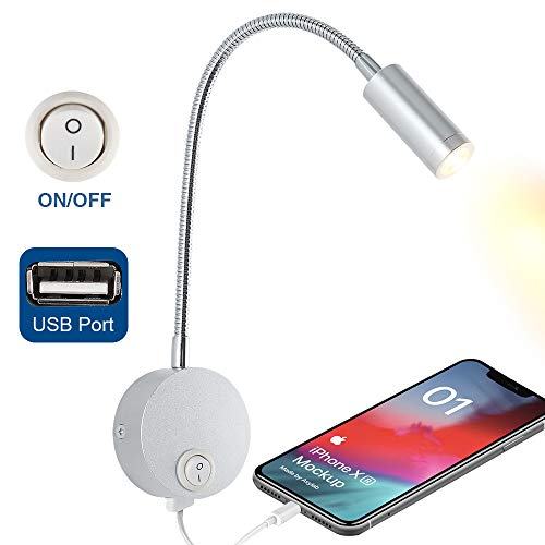 WisHomee DC 12V Reading Light with USB Charging Port, RV Interior Lights, Flexible LED Light Fixtures, Designed for Car, Van, Boat and Motorhome (Silver)