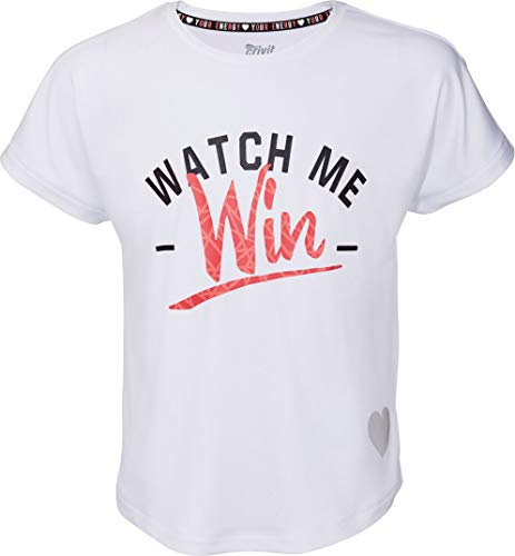 Crivit® Mädchen Sport T-Shirt Funktionsshirt Sportshirt Trainingsshirt 'Watch me Win', Kurzarm (weiß, Gr. 122/128)