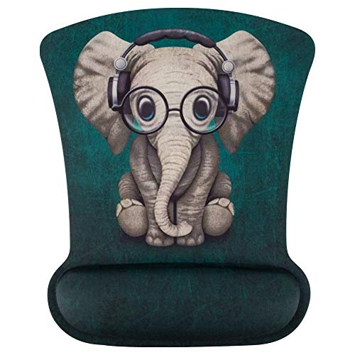 Marphe Mouse Pad with Wrist Support Green Pattern Headset Music Elephant Mousepad Non-Slip Rubber Wrist Rest Gaming Mouse Pads for Computers Laptop