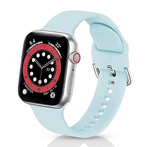 Correas de Silicona Compatible con iWatch 42mm 38mm 44mm 40mmm, Solo Loop Deportiva Straps Compatible con Apple Watch Series 6/5/4/3/SE, Correa para Band 38mm/40mm,Cielo azul