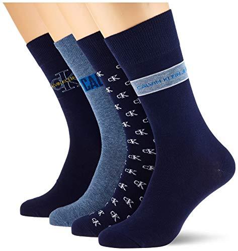 Calvin Klein Men Jeans Logo Crew Socks 4p Giftbox Calzini, Blu Scuro Combo, Taglia Unica Uomo