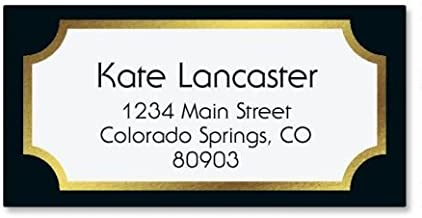 Fundamental Black Foil Address Labels - Set of 144 1-1/8 x 2-1/4 Self-Adhesive, Flat-Sheet labels