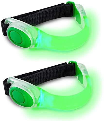 2 Stuck LED Armbänder, Reflective LED Leuchtband Reflektor Kinder Sicherheits Licht für Nacht Laufen Outdoor Sports (Grun/2 Stück)