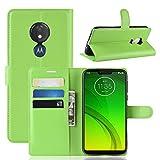 LMFULM® Hülle für Motorola Moto G7 Power (6,2 Zoll) PU Leder Magnet Brieftasche Lederhülle Handytasche Litschi Muster Standfunktion Ledertasche Flip Cover für Moto G7 Power Grün