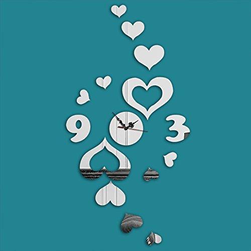 3D driedimensionale creatieve perzik hart muur klok mode decoratieve klok kunst spiegel muur muur muur bevestigd aan de woonkamer muur klok Mirror Silver