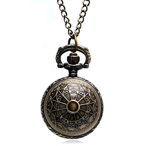 XVCHQIN Bronce Spider Web Ball Collar Colgante Reloj de Bolsillo Reloj con Cadena Mujer Lady Gifts, Bronce