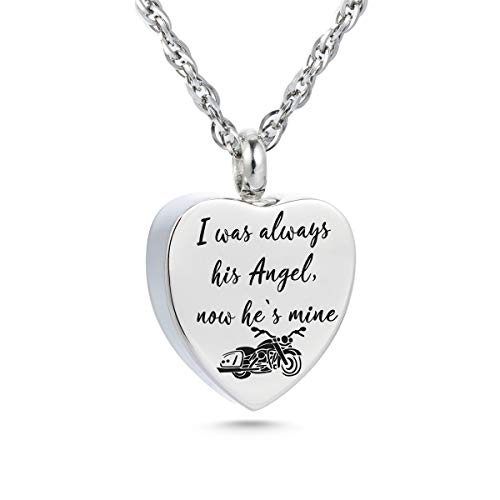 I was Always his Angel Urn Necklace for Ashes Motorcycle Rider Memorial Necklace Cremation Jewelry Urn Chain