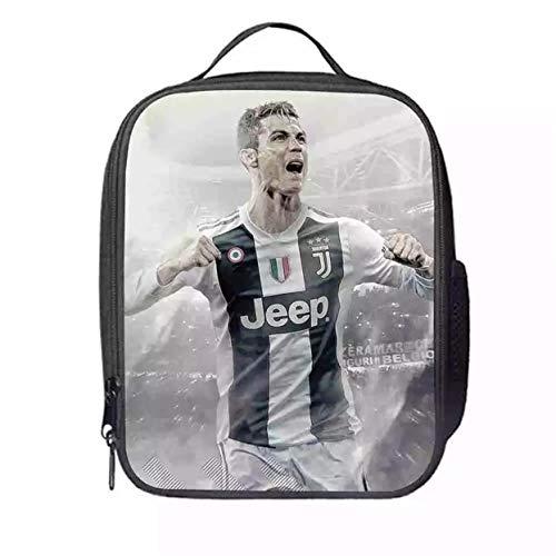 XMTIHE Kids Boys Girls Cristiano Ronaldo Insulated Lunchbox-Waterproof Lunch Bag for School,Travel