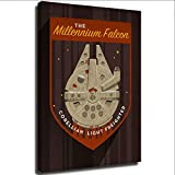 Star Wars Millennium Falcon - Lienzo de pared para baño (30,5 x 40,6 cm), diseño de Star Wars, lona, Enmarcado, 24x36