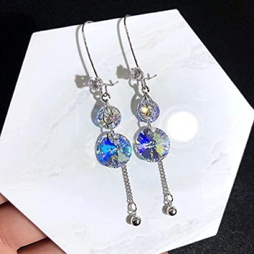 Pendientes para niñas, QWEA Crystal 925 pendientes blancos tachuelas pendientes largos de cristal coreano pendientes de fiesta regalos para mujer