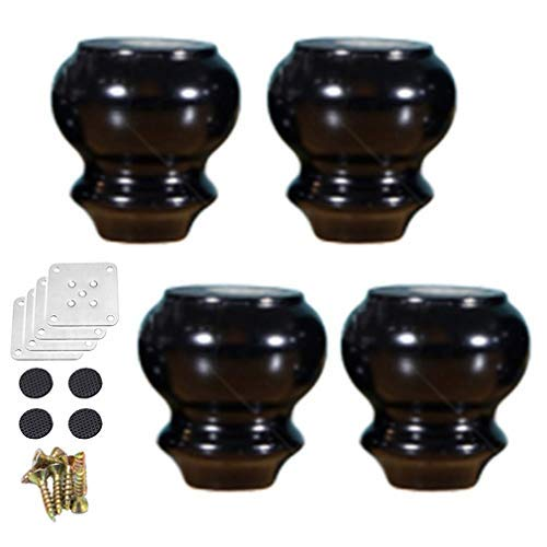 BJYG Pack of 4 Wood Furniture Parts Sofa Legs,Gourd Shape Wooden Furniture Legs,for Tables,Chairs,Cabinets,Coffee Tables Replacement Feet,with Screws,Multiple Colors and Sizes(black8cm/3.1in)