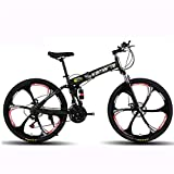 GXQZCL-1 VTT,vélo Tout Terrain, 26' Vélos de Montagne, vélo Pliable Hardtail, Cadre en Acier au Carbone, avec Double Disque de Frein et Suspension Double MTB Bike (Color : Black, Size : 21 Speed)