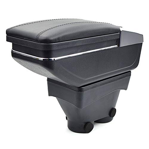Para Peugeot 208 2014-2018 Apoyabrazos Caja de almacenamiento Coches Reposabrazos Central Negro