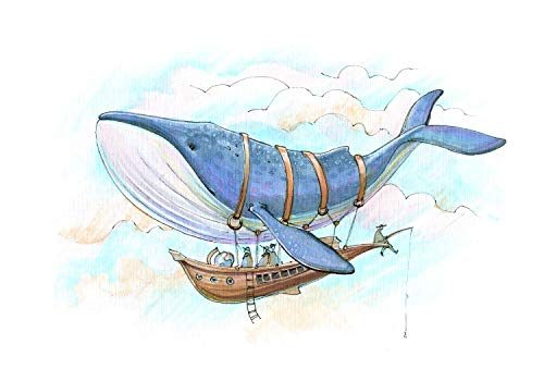wandmotiv24 Fototapete Wal Schiff Fantasie Himmel, XS 150 x 105cm - 3 Teile, Fototapeten, Wandbild, Motivtapeten, Vlies-Tapeten, Wolken, Aquarell, Tiere, Kinderzimmer M5781