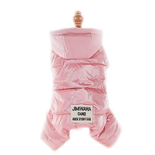 Modieuze kleding voor huisdieren, puppy's, katoen, mantel met capuchon, bedrukt, kleine honden, winterkleding, dik, eenvoudig te reinigen, L, Roze