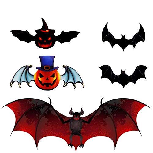 Halloween Fledermaus Wandaufkleber, 3D dreidimensionale Fledermaus Dekoration Fledermaus Wandaufkleber, 5 Verschiedene Arten von Kürbis Wandaufkleber, verwendet für Halloween Partyzubehör (72 Stück)